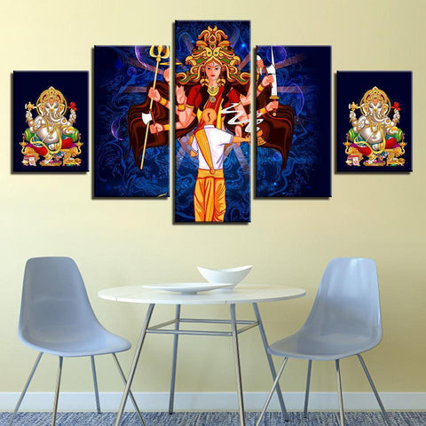 Image of New Day Stock Store Canvas Paintings Medium / Framed Durga & Ganesha 5 Piece Canvas Set
