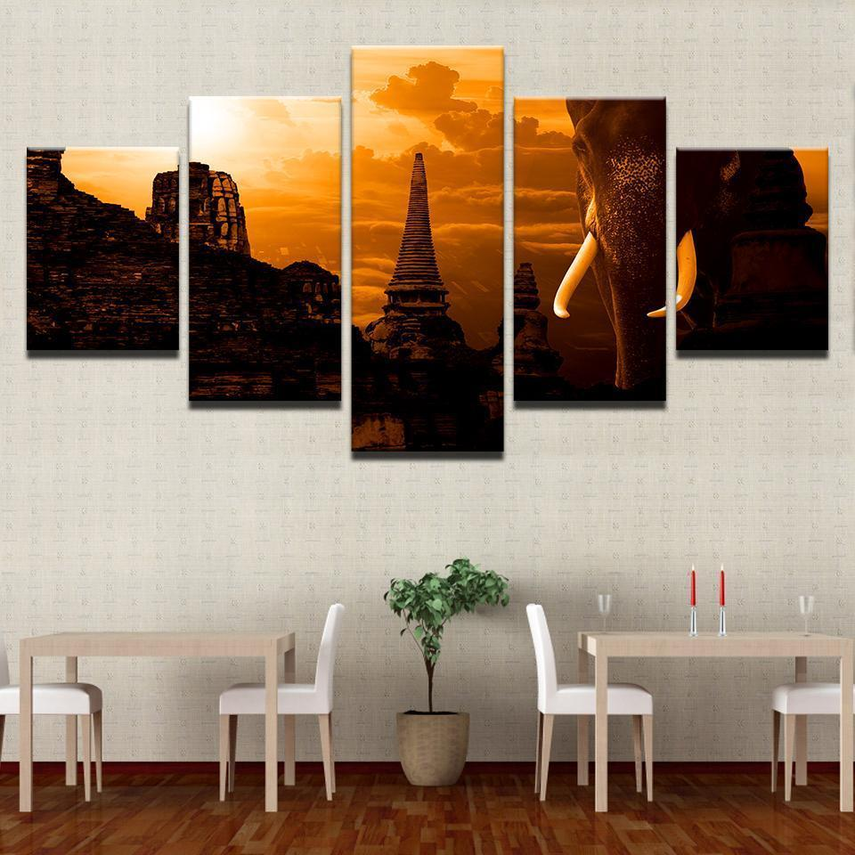 New Day Stock Store Canvas Paintings Medium / Framed Elephant Temple 5 Piece Canvas Set