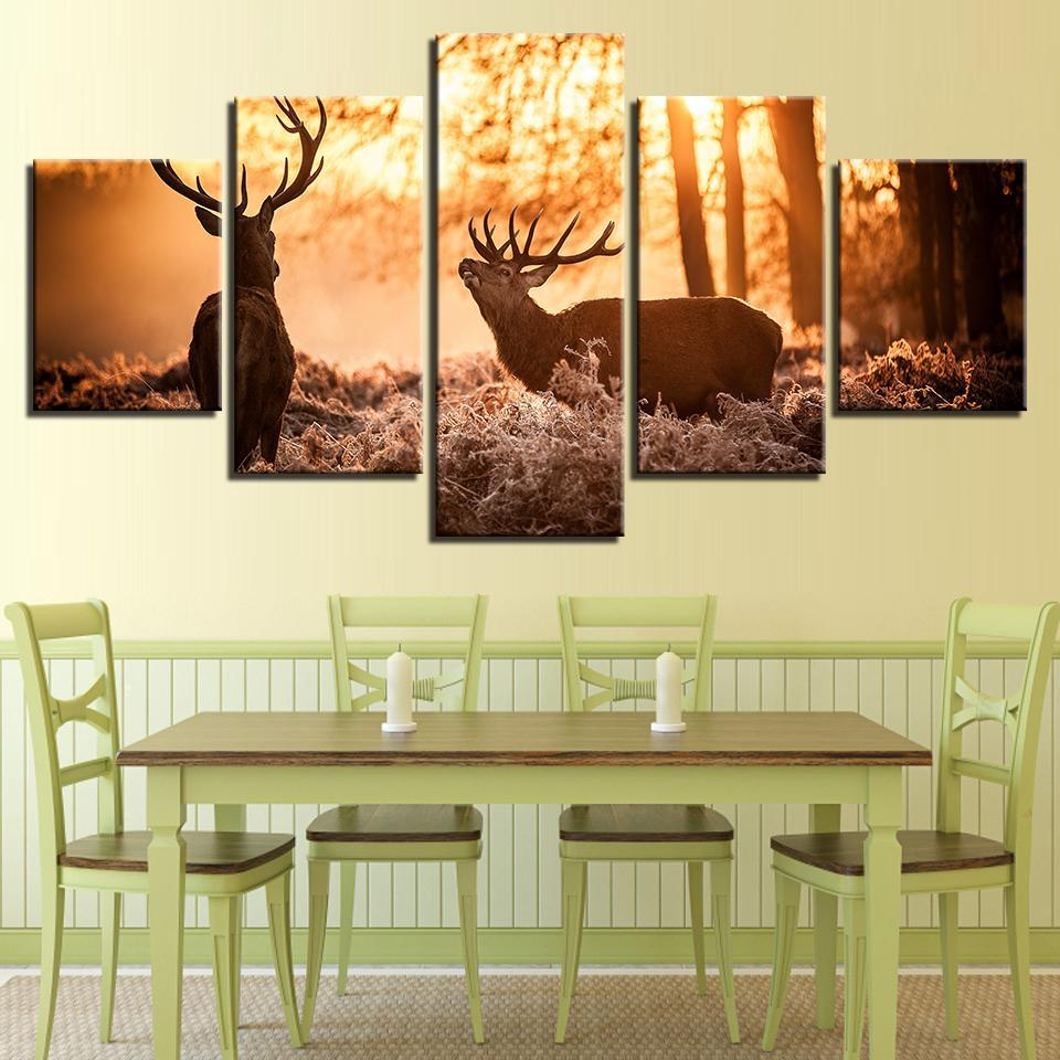 New Day Stock Store Canvas Paintings Medium / Framed Elk In The Forest  5 Piece Canvas Set