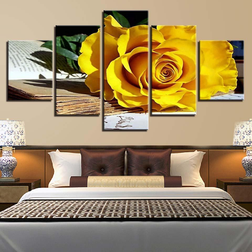 New Day Stock Store Canvas Paintings Medium / Framed Flower Studies 5 Piece Canvas Set