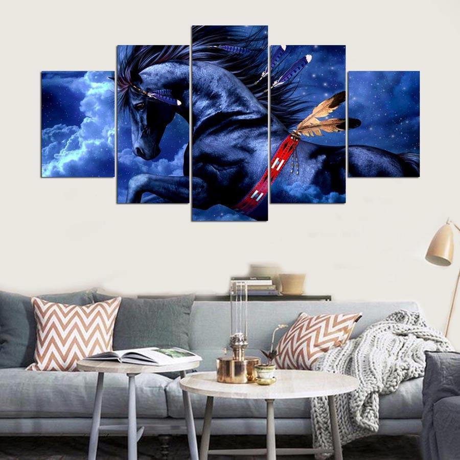 New Day Stock Store Canvas Paintings Medium / Framed Flying Horse 5 Piece Canvas Set