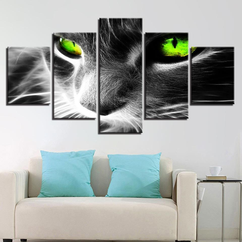 New Day Stock Store Canvas Paintings Medium / Framed Green Eyes Cat 5 Piece Canvas Set