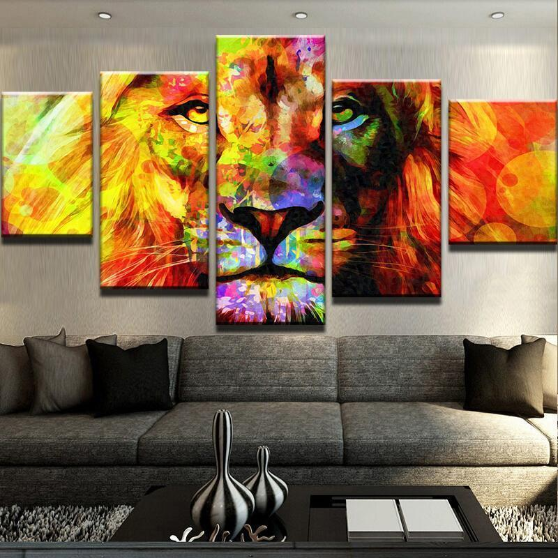 New Day Stock Store Canvas Paintings Medium / Framed Lion Abstract 5 Piece Canvas Set