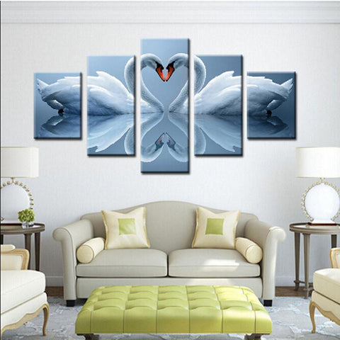 New Day Stock Store Canvas Paintings Medium / Framed Love Swan 5 Piece Canvas Set
