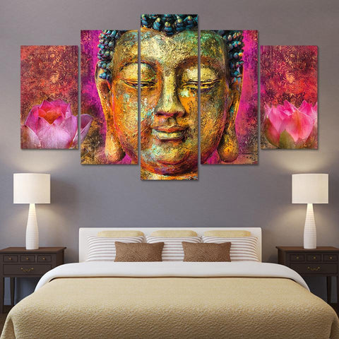 New Day Stock Store Canvas Paintings Medium / Framed Pink Lotus Buddha 5 Piece Canvas Set
