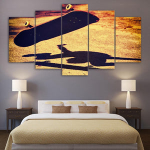 New Day Stock Store Canvas Paintings Medium / Framed Vintage Flipped Over Skateboard 5 Piece Canvas Set