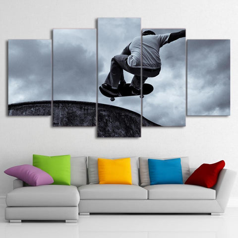 New Day Stock Store Canvas Paintings Medium / Framed Vintage Skateboard Black And White 5 Piece Canvas Set