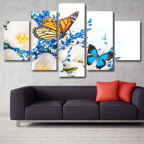 New Day Stock Store Canvas Paintings Medium / Framed Yellow & Blue Butterflies 5 Piece Canvas Set