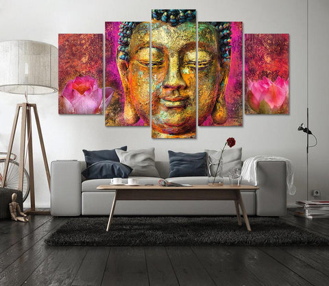 New Day Stock Store Canvas Paintings Pink Lotus Buddha 5 Piece Canvas Set