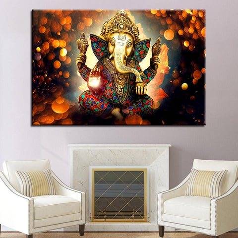 New Day Stock Store Canvas Paintings - R Medium / 1 Piece / Framed The Hindu God Ganesh Canvas Set
