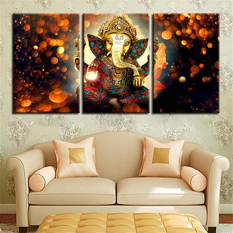 New Day Stock Store Canvas Paintings - R Medium / 3 Pieces / Framed The Hindu God Ganesh Canvas Set