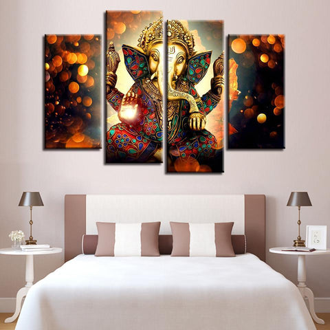 New Day Stock Store Canvas Paintings - R Medium / 4 Pieces / Framed The Hindu God Ganesh Canvas Set