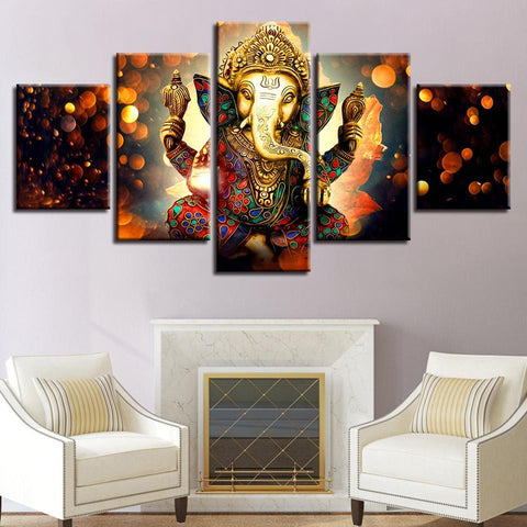 New Day Stock Store Canvas Paintings - R Medium / 5 Pieces / Framed The Hindu God Ganesh Canvas Set