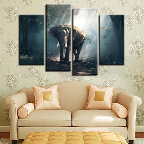 New Day Stock Store Canvas Paintings Small / 4 Pieces / No Frame African Forest Elephant Multi Piece Canvas Set