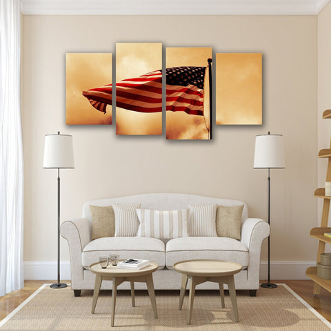 New Day Stock Store Canvas Paintings Small / 4 Pieces / No Frame American Flag Waving In The Wind Multi Panel Canvas Set
