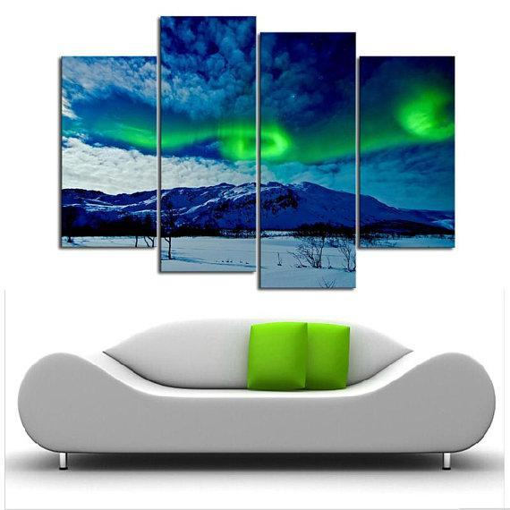 New Day Stock Store Canvas Paintings Small / 4 Pieces / No Frame Aurora Borealis Balls Multi Piece Canvas Set