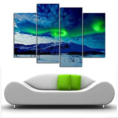 Image of New Day Stock Store Canvas Paintings Small / 4 Pieces / No Frame Aurora Borealis Balls Multi Piece Canvas Set