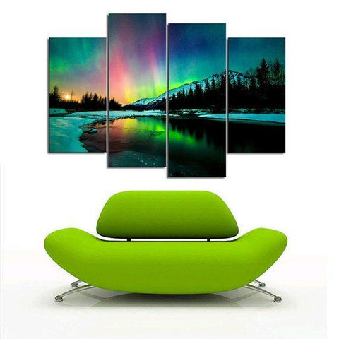 New Day Stock Store Canvas Paintings Small / 4 Pieces / No Frame Aurora Borealis Lake Multi Piece Canvas Set