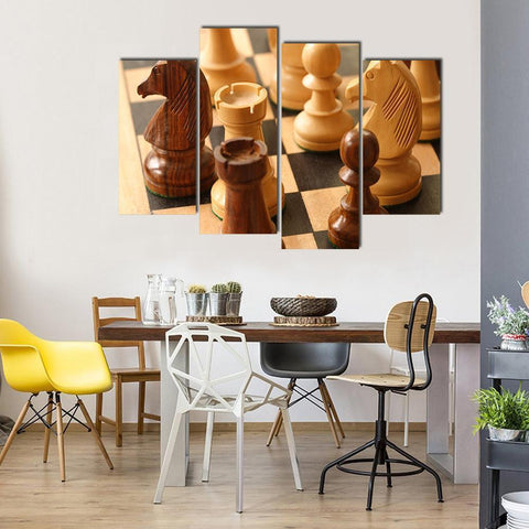 New Day Stock Store Canvas Paintings Small / 4 Pieces / No Frame Beautiful Chess Game Multi Piece Canvas Set