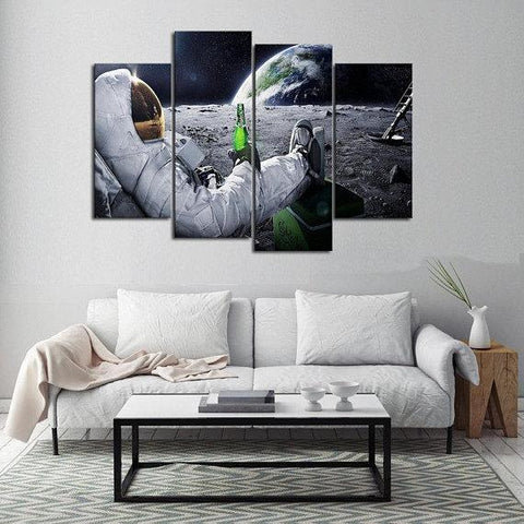 New Day Stock Store Canvas Paintings Small / 4 Pieces / No Frame Beer Drinking Astronaut Multi Piece Canvas Set