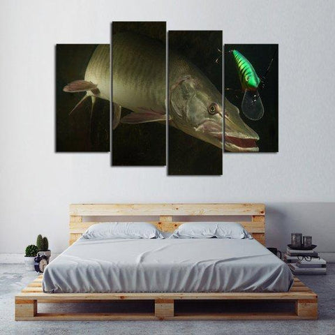 New Day Stock Store Canvas Paintings Small / 4 Pieces / No Frame Big Muskie Fishing Multi Panel Canvas Set