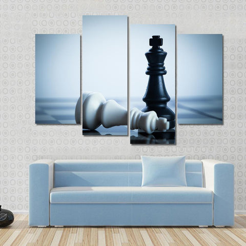 New Day Stock Store Canvas Paintings Small / 4 Pieces / No Frame Black Chess Defeats White King Multi Piece Canvas Set