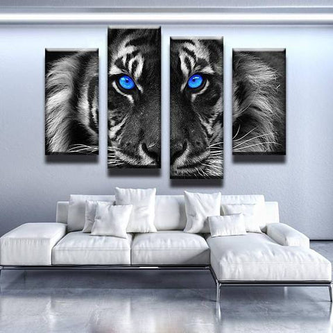 New Day Stock Store Canvas Paintings Small / 4 Pieces / No Frame Blue Eyed Tiger Multi Panel Canvas Set