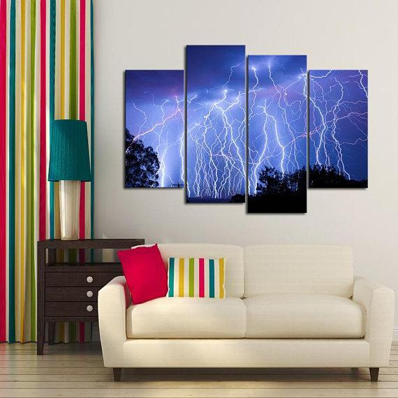 New Day Stock Store Canvas Paintings Small / 4 Pieces / No Frame Blue Lightning Multi Piece Canvas Set