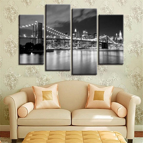Image of New Day Stock Store Canvas Paintings Small / 4 Pieces / No Frame Brooklyn Bridge At Night Multi Piece Canvas Set