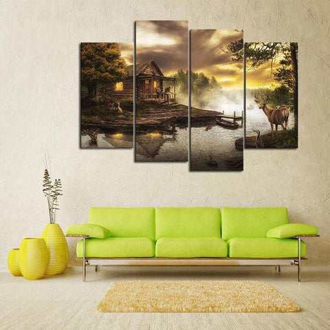 New Day Stock Store Canvas Paintings Small / 4 Pieces / No Frame Cabin By the Lake Multi Piece Canvas Set