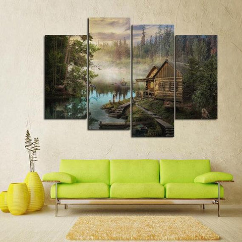 New Day Stock Store Canvas Paintings Small / 4 Pieces / No Frame Cabin On the Lake Multi Piece Canvas Set
