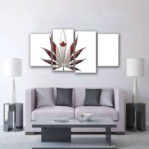 Image of New Day Stock Store Canvas Paintings Small / 4 Pieces / No Frame Cannabis Canada Multi Panel Canvas Set