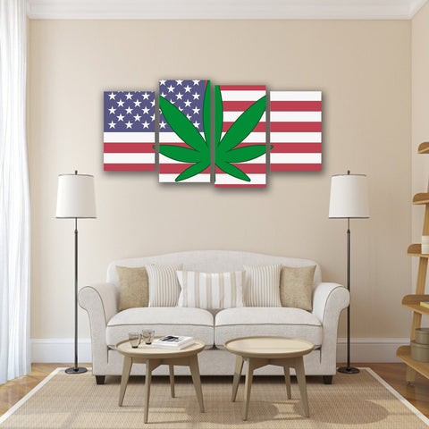 Image of New Day Stock Store Canvas Paintings Small / 4 Pieces / No Frame Cannabis Murica Multi Panel Canvas Set