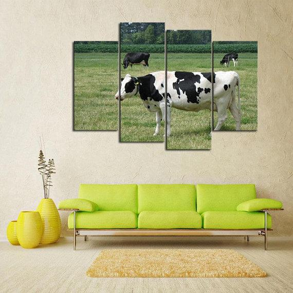 New Day Stock Store Canvas Paintings Small / 4 Pieces / No Frame Dairy Cow Farmer Multi Piece Canvas Set