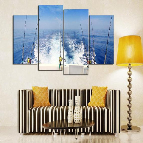 New Day Stock Store Canvas Paintings Small / 4 Pieces / No Frame Deep Sea Fishing Multi Piece Canvas Set