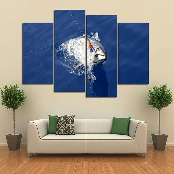 New Day Stock Store Canvas Paintings Small / 4 Pieces / No Frame Deep Sea Tuna Fishing Multi Panel Canvas Set