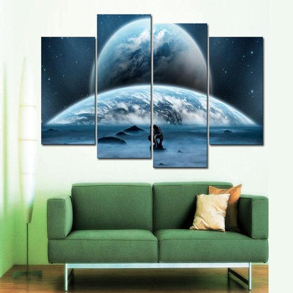 New Day Stock Store Canvas Paintings Small / 4 Pieces / No Frame Earth Man Galaxy Multi Piece Canvas Set