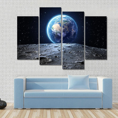 Image of New Day Stock Store Canvas Paintings Small / 4 Pieces / No Frame Earth View From Asteroid In Space Multi Panel Canvas Set