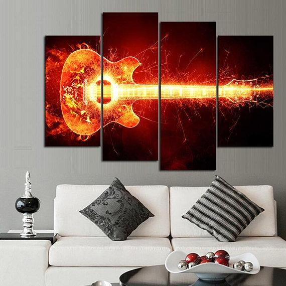 New Day Stock Store Canvas Paintings Small / 4 Pieces / No Frame Electrified Guitar Multi Piece Canvas Set