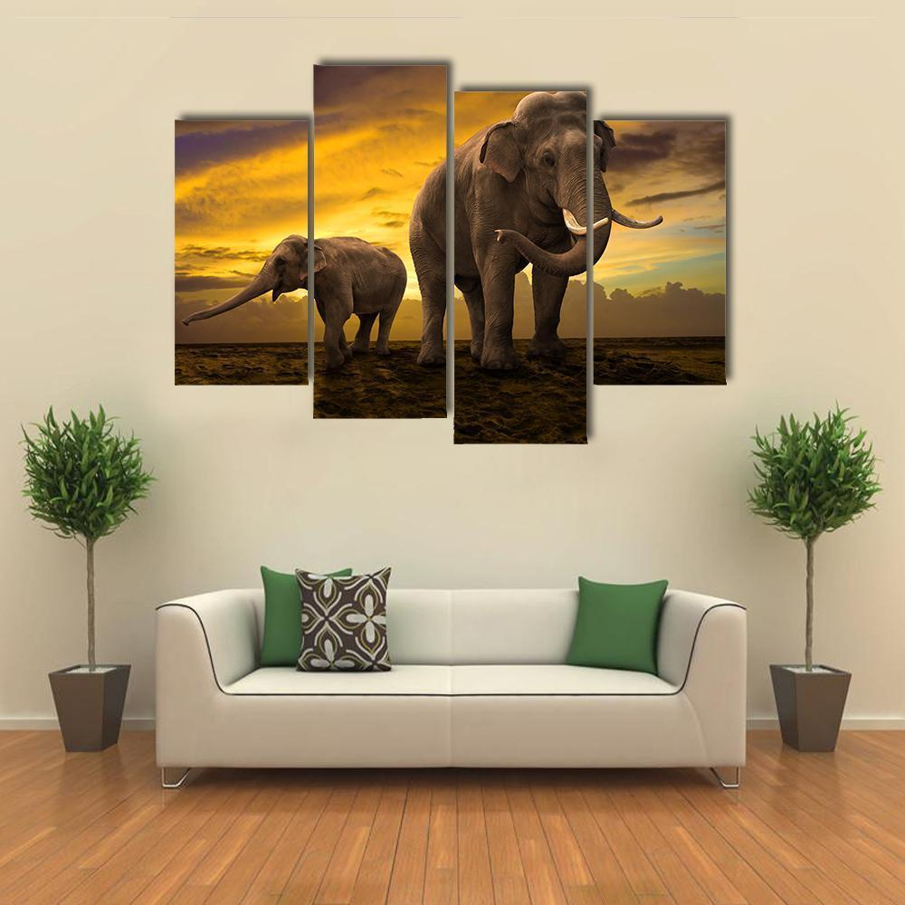 New Day Stock Store Canvas Paintings Small / 4 Pieces / No Frame Elephants Family On Sunset Multi Piece Canvas Set