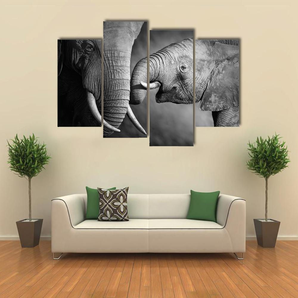 New Day Stock Store Canvas Paintings Small / 4 Pieces / No Frame Elephants Showing Affection Multi Piece Canvas Set