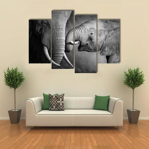 Image of New Day Stock Store Canvas Paintings Small / 4 Pieces / No Frame Elephants Showing Affection Multi Piece Canvas Set