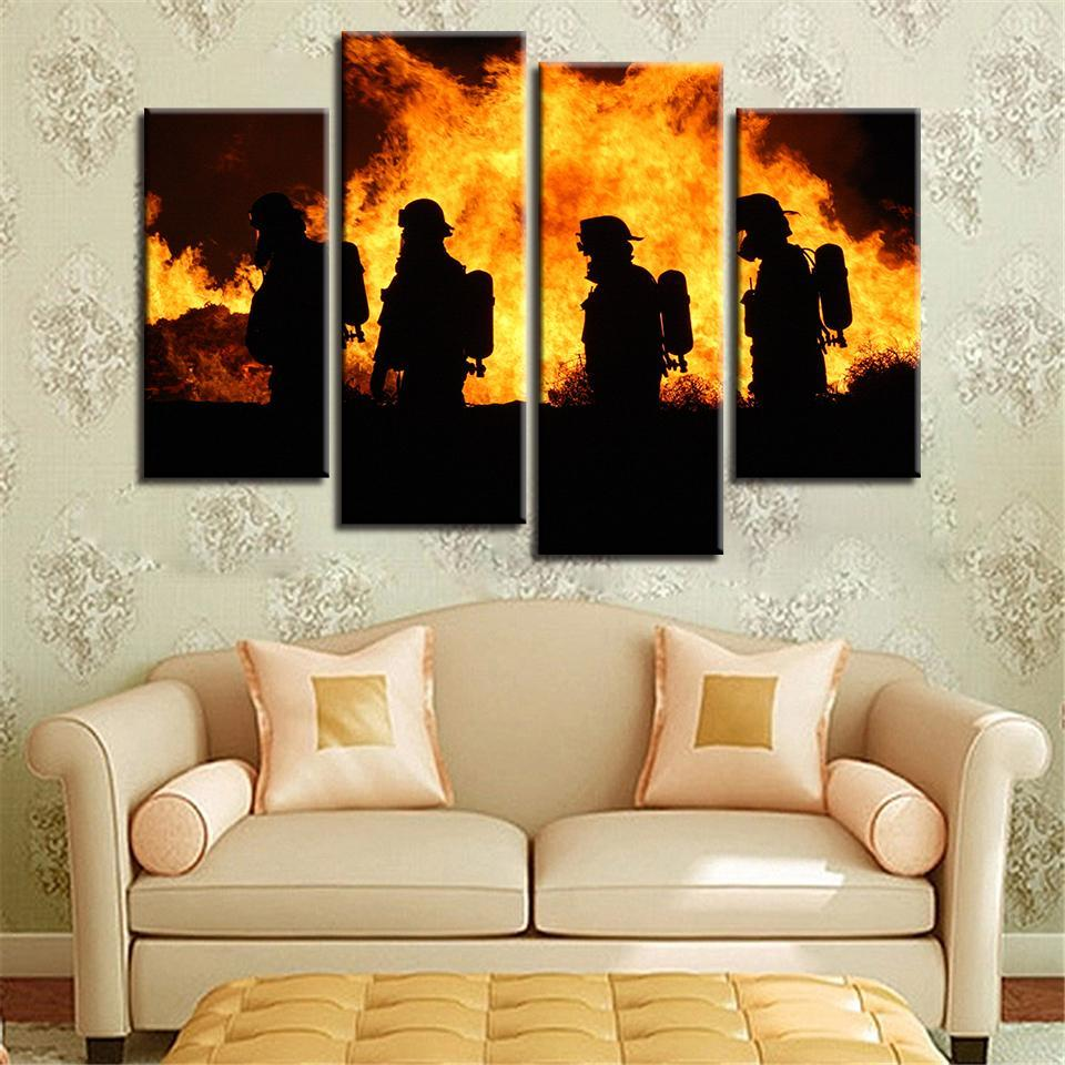New Day Stock Store Canvas Paintings Small / 4 Pieces / No Frame Firefighters in Action Multi Piece Canvas Set