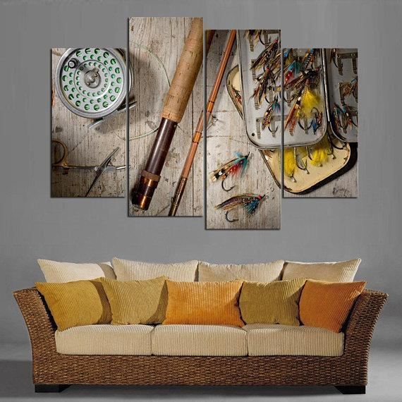 New Day Stock Store Canvas Paintings Small / 4 Pieces / No Frame Fly Fishing Multi Panel Canvas Set