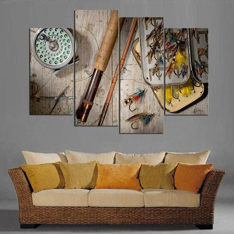 Image of New Day Stock Store Canvas Paintings Small / 4 Pieces / No Frame Fly Fishing Multi Panel Canvas Set