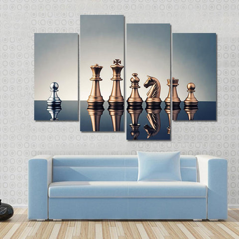 New Day Stock Store Canvas Paintings Small / 4 Pieces / No Frame Leadership Concept Of Chess Multi Piece Canvas Set