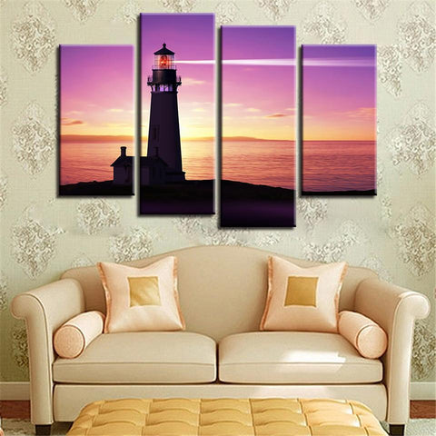 New Day Stock Store Canvas Paintings Small / 4 Pieces / No Frame Lighthouse At Sunset Multi Piece Canvas Set