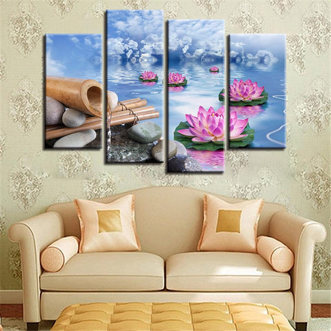 New Day Stock Store Canvas Paintings Small / 4 Pieces / No Frame Lotus Calmness Flower Multi Panel Canvas Set