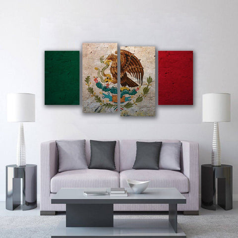 New Day Stock Store Canvas Paintings Small / 4 Pieces / No Frame Mexican Flag Multi Panel Canvas Set