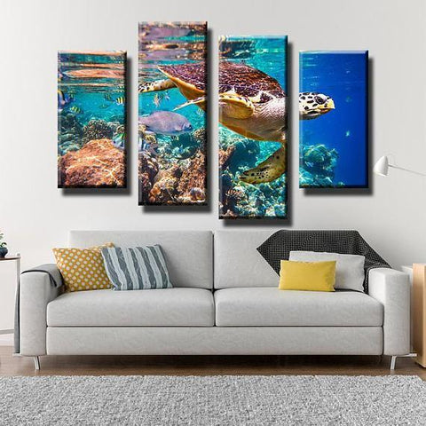 Image of New Day Stock Store Canvas Paintings Small / 4 Pieces / No Frame Ocean Turtle Multi Piece Canvas Set